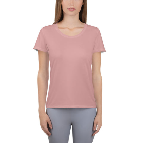 All-Over Print Women's Athletic T-shirt Pressed Pink.