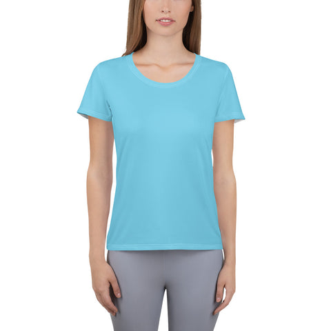 All-Over Print Women's Athletic T-shirt Light Blue.