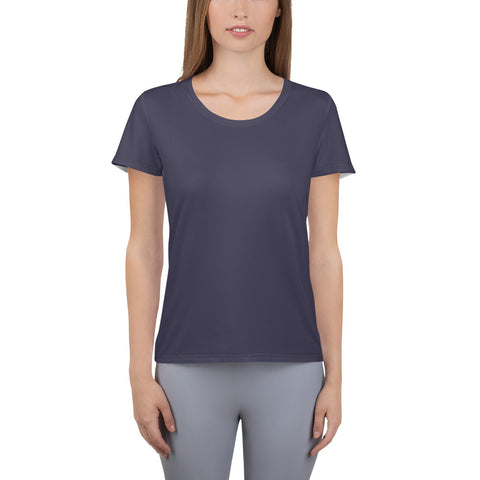 All-Over Print Women's Athletic T-shirt Eclipse Gray.
