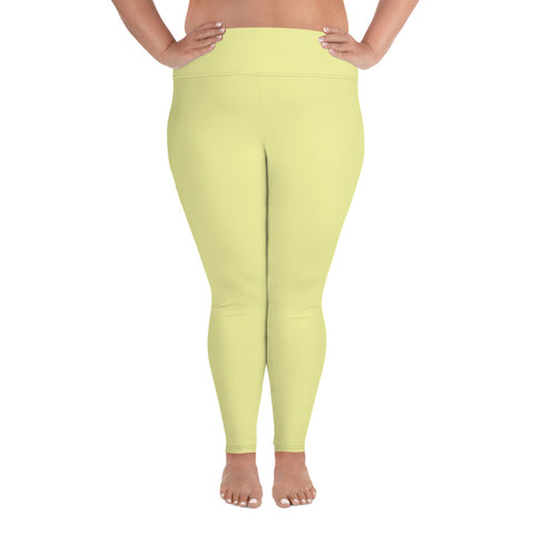 All-Over Print Plus Size Leggings Light Yellow.