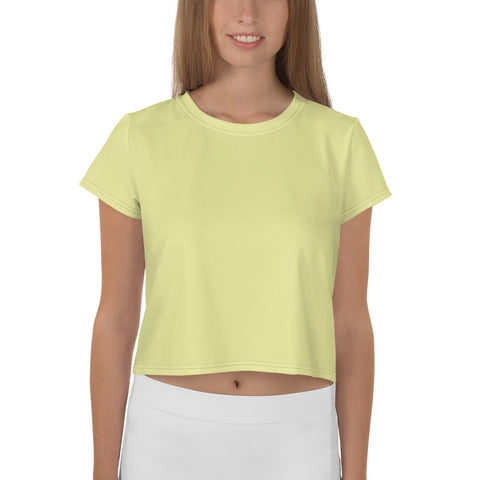 All-Over Print Crop Tee Light Yellow.