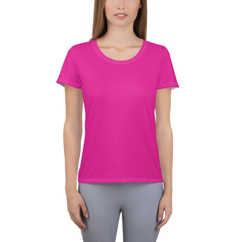 All-Over Print Women's Athletic T-shirt Rhodamine Red.