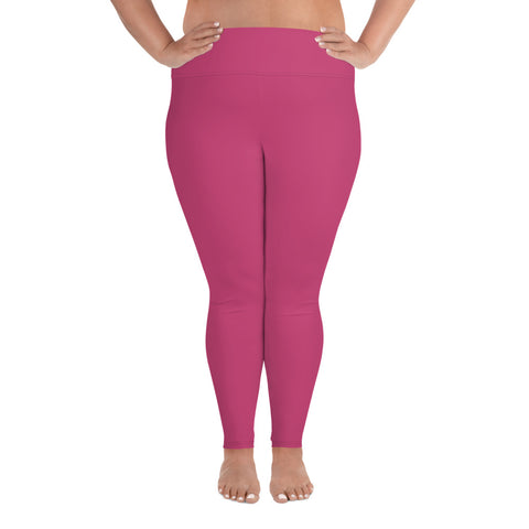 All-Over Print Plus Size Leggings Fuschia Pink