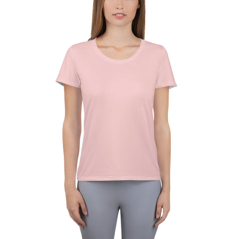 All-Over Print Women's Athletic T-shirt Rose Pink.