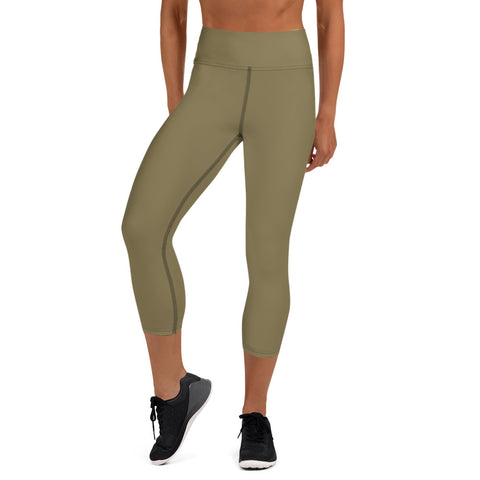 Yoga Capri Leggings Olive Green.