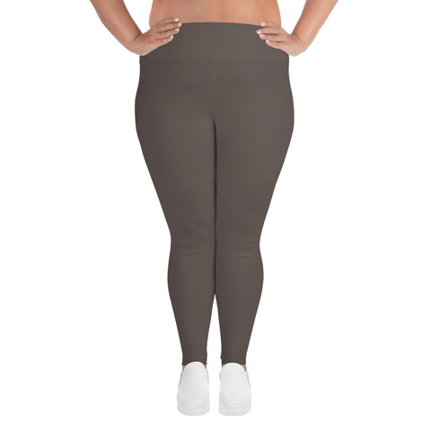 All-Over Print Plus Size Leggings Granite Brown