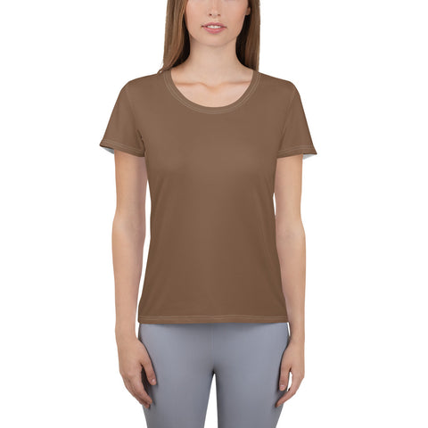 All-Over Print Women's Athletic T-shirt Toffee Brown.
