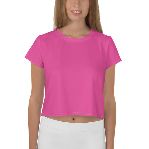 All-Over Print Crop Tee Bright Pink.