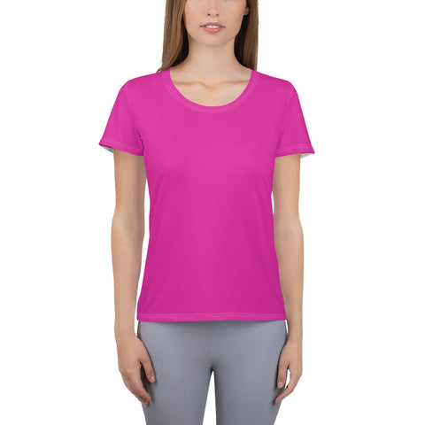 All-Over Print Women's Athletic T-shirt Pink.