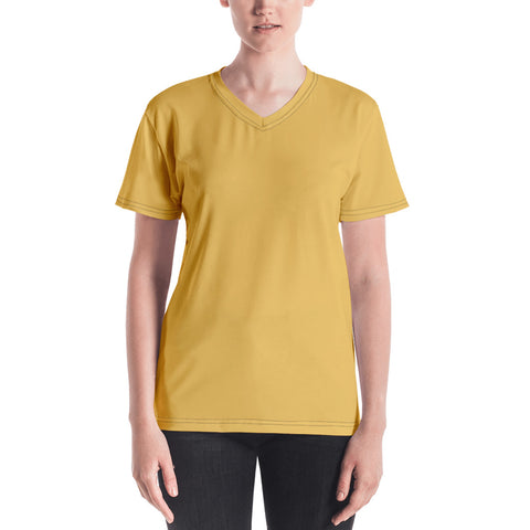 Women's V-neck Mimosa Yellow.