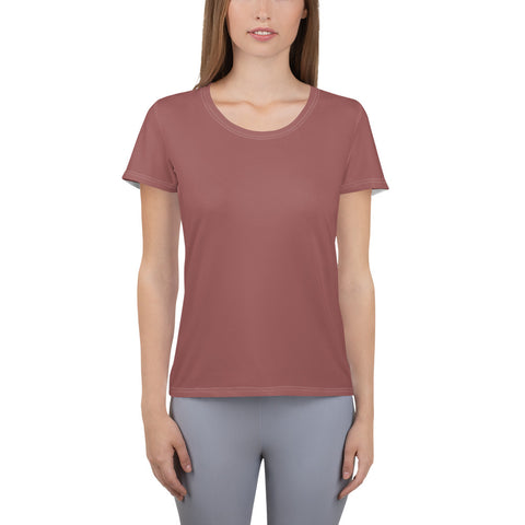 All-Over Print Women's Athletic T-shirt Marsala Brown.