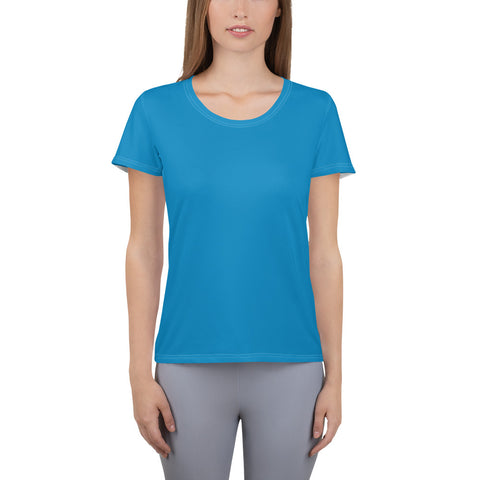 All-Over Print Women's Athletic T-shirt Process Blue.