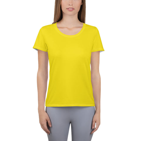 All-Over Print Women's Athletic T-shirt Yellow.