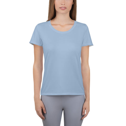 All-Over Print Women's Athletic T-shirt Cerul Blue.
