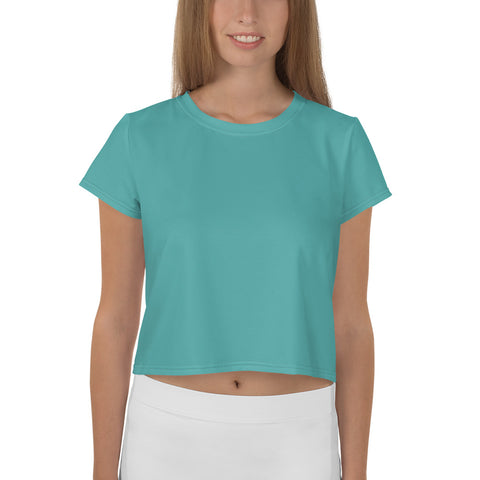 All-Over Print Crop Tee Turquoise Blue.
