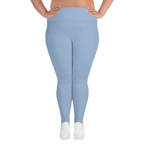 All-Over Print Plus Size Leggings Cerul Blue