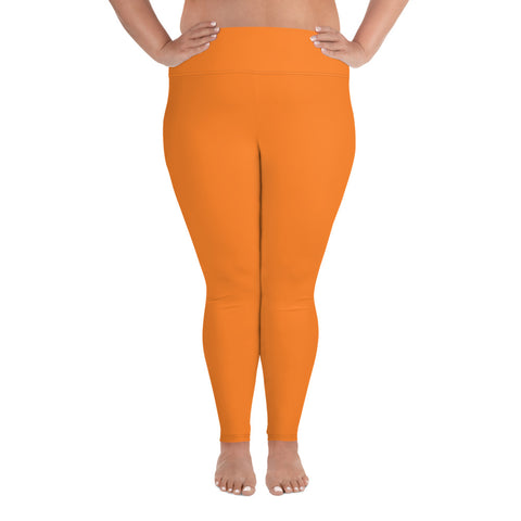 All-Over Print Plus Size Leggings Turmeric Orange