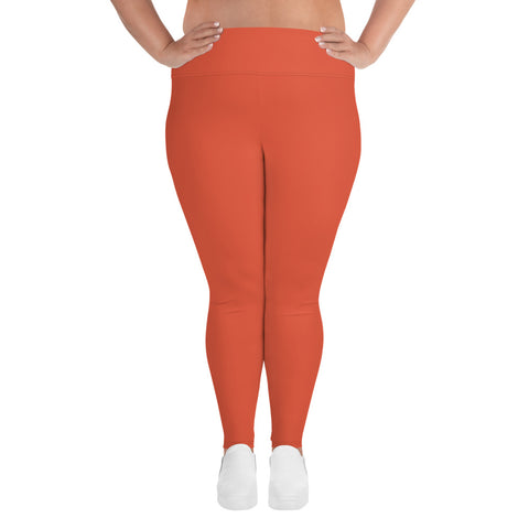All-Over Print Plus Size Leggings Lilly Orange
