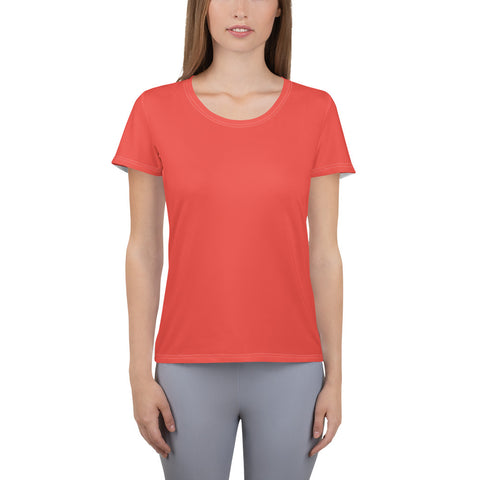 All-Over Print Women's Athletic T-shirt Warm Red.
