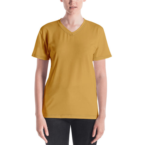 Women's V-neck Mango Yellow.