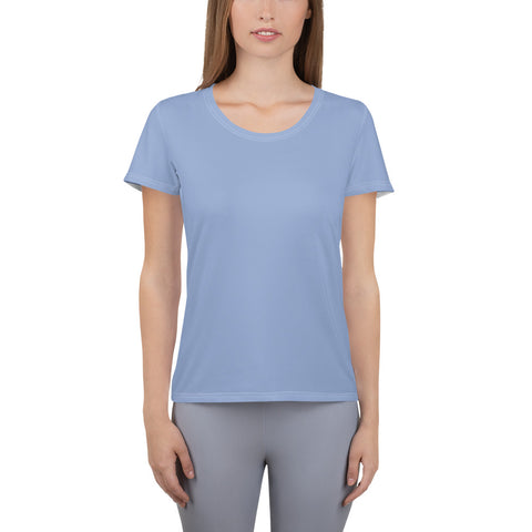 All-Over Print Women's Athletic T-shirt Serenity Blue.