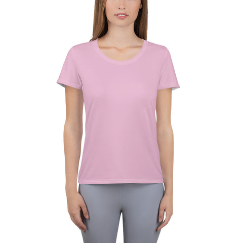 All-Over Print Women's Athletic T-shirt Sweet Pink.