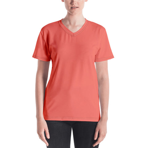 Women's V-neck Living Coral.