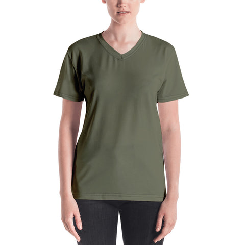 Women's V-neck Terra Green.