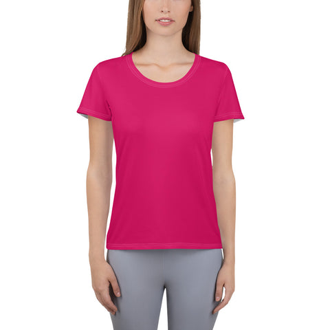 All-Over Print Women's Athletic T-shirt Strong Red.
