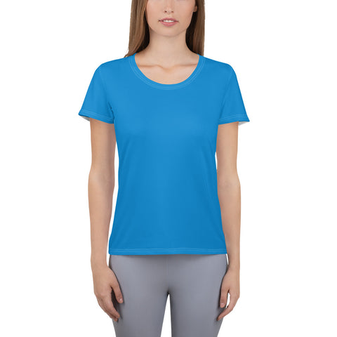 All-Over Print Women's Athletic T-shirt Medium Blue.