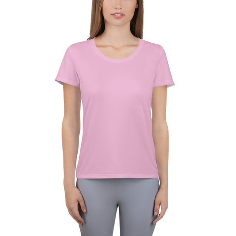 All-Over Print Women's Athletic T-shirt Light Magenta.