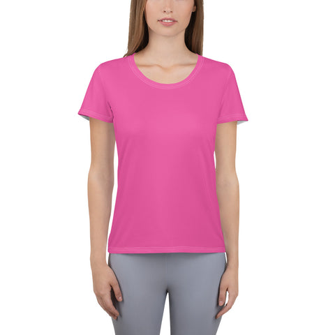 All-Over Print Women's Athletic T-shirt Bright Pink.