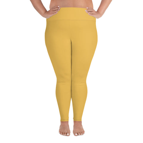 All-Over Print Plus Size Leggings Mimosa Yellow