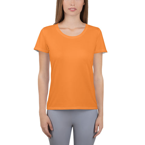 All-Over Print Women's Athletic T-shirt Turmeric Orange.