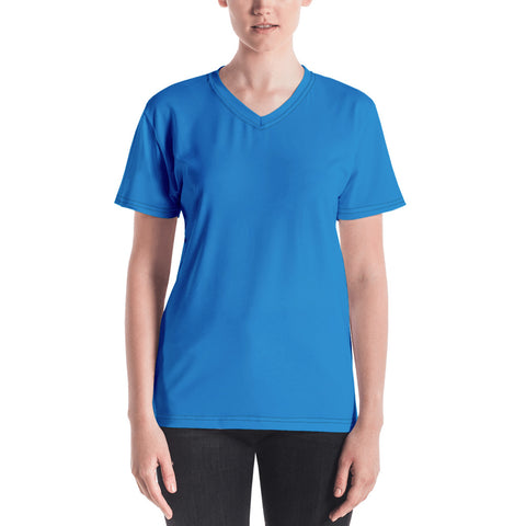 Women's V-neck  Medium Blue.
