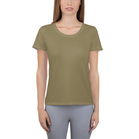 All-Over Print Women's Athletic T-shirt Olive Green.