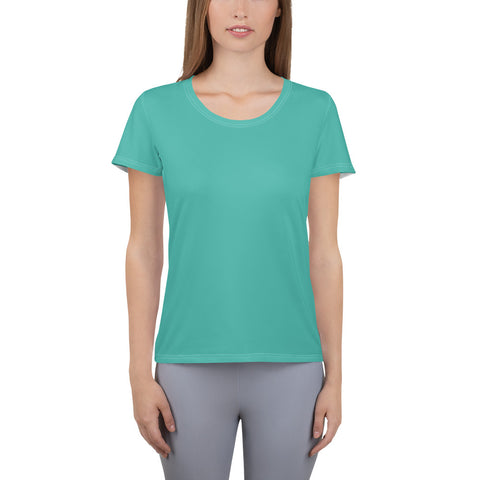 All-Over Print Women's Athletic T-shirt Turquoise Green.