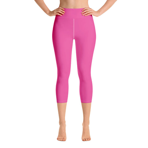 Yoga Capri Leggings Bright Pink.