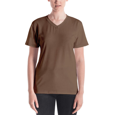 Women's V-neck Toffee Brown.