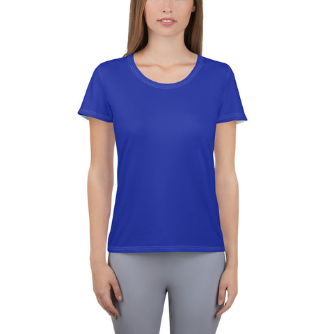 All-Over Print Women's Athletic T-shirt Dark Blue.