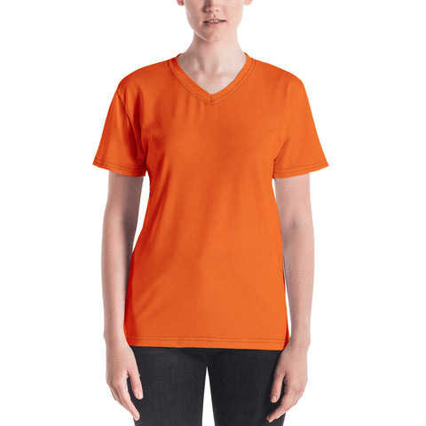 Women's V-neck Bright Orange.