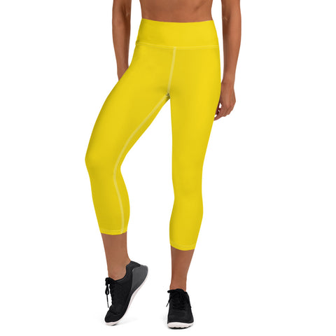 Yoga Capri Leggings Medium Yellow.