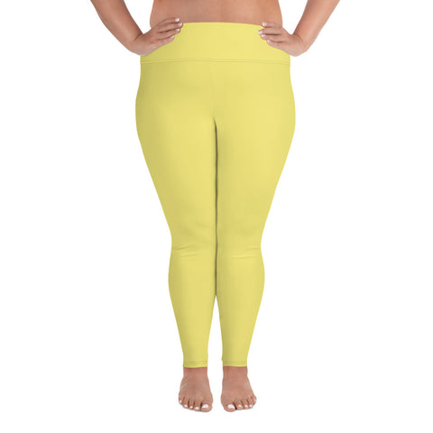 All-Over Print Plus Size Leggings Lemon Yellow