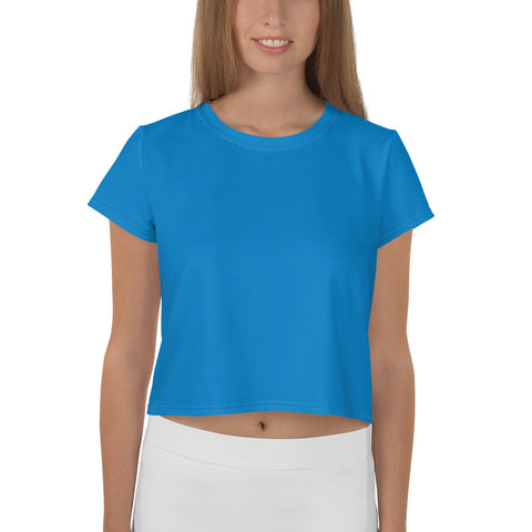 All-Over Print Crop Tee Medium Blue,