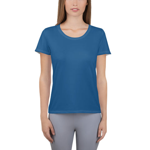 All-Over Print Women's Athletic T-shirt Atlantic Blue.