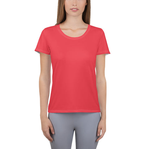 All-Over Print Women's Athletic T-shirt Red.