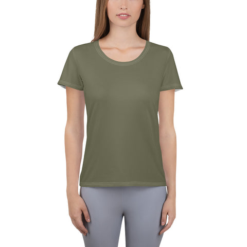 All-Over Print Women's Athletic T-shirt Terra Green.