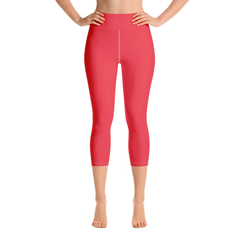 Yoga Capri Leggings Red.