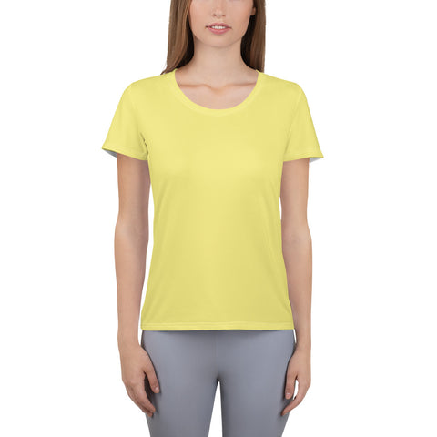 All-Over Print Women's Athletic T-shirt Lemon Yellow.