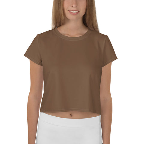 All-Over Print Crop Tee Toffee Brown.